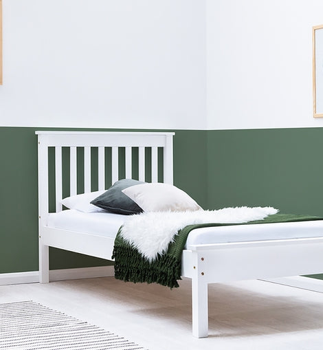 DISLEY WOODEN WHITE SINGLE BED FRAME