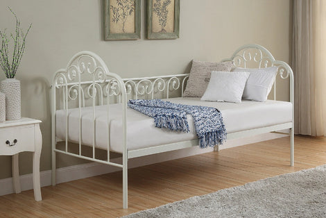LILLY WHITE METAL DAY BED SINGLE FRAME