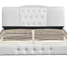 Knightsbrook White Faux Leather Contemporary Designer King Size Bed Frame