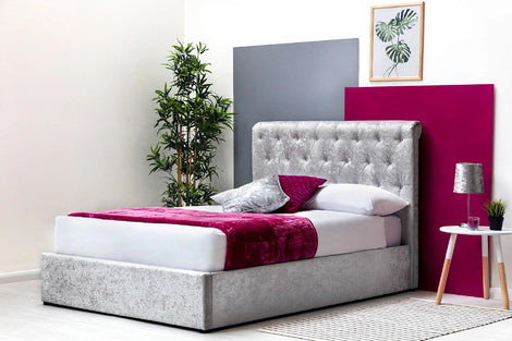 THORPE SCROLL CRUSHED SILVER VELVET OTTOMAN DOUBLE BED