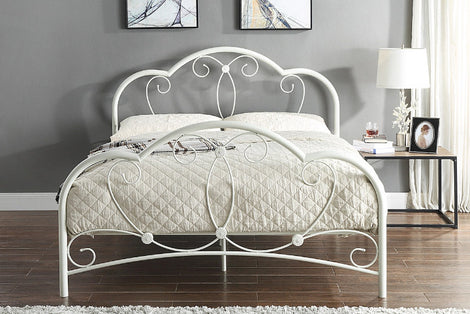 WHITBY ORNATE WHITE METAL BED DOUBLE FRAME