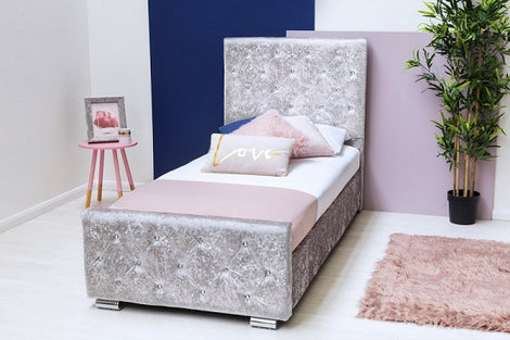 Beaumont Diamante Silver Crushed Velvet Upholstered Storage Single Bed Frame