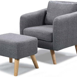 Blithfield Charcoal Grey Fabric Armchair & Footstool