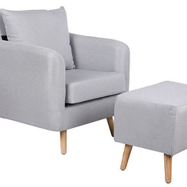 Blithfield Light Grey Fabric Armchair & Footstool