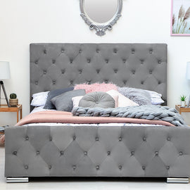 Buckingham Grey Velvet Fabric Upholstered King Size Bed Frame