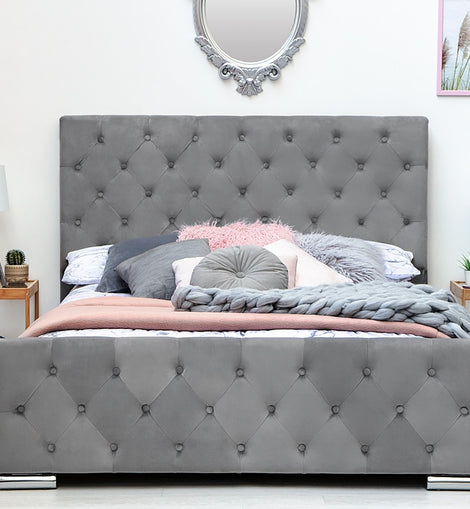 Buckingham Grey Velvet Fabric Upholstered Double Bed Frame