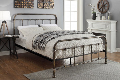 Burford Victorian Hospital Antiqued Black Metal King Size Bed Frame