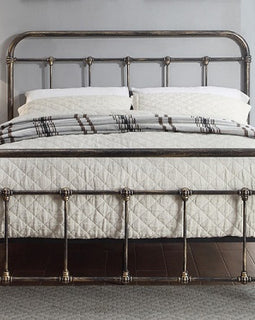 Burford Victorian Hospital Antiqued Black Metal Double Bed Frame