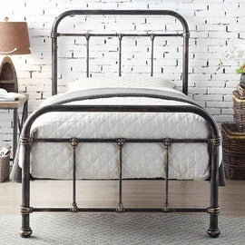 Burford Victorian Hospital Antiqued Black Metal Single Bed Frame