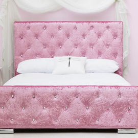 Beaumont Diamante Pink Crushed Velvet Upholstered Double Bed Frame