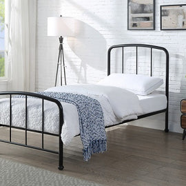 Belmont Industrial Style Black Metal Bed Frame Single