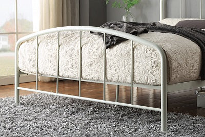 Belmont Industrial Style White Metal Bed Frame King