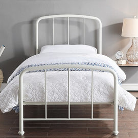 Belmont Industrial Style White Metal Bed Frame Single