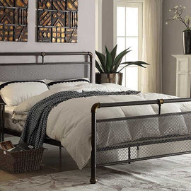 Cambridge Industrial Scaffold Rustic Brown Metal Double Bed Frame