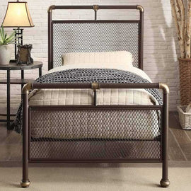 Cambridge Industrial Scaffold Rustic Brown Metal Single Bed Frame