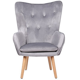 Coven Grey Velvet Accent Bedroom Chair