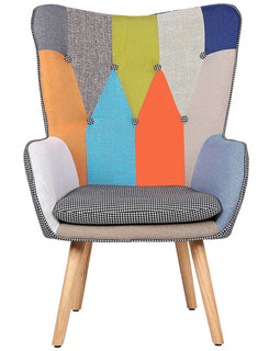 COVEN PATCHWORK FABRIC ACCENT BEDROOM CHAIR