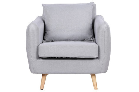 Elford Light Grey Fabric Armchair