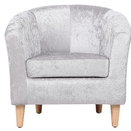 Endon Crushed Silver Fabric Tub Chair