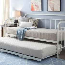 Harlow Hospital Style White Metal Day Bed with Guest Trundle - Single