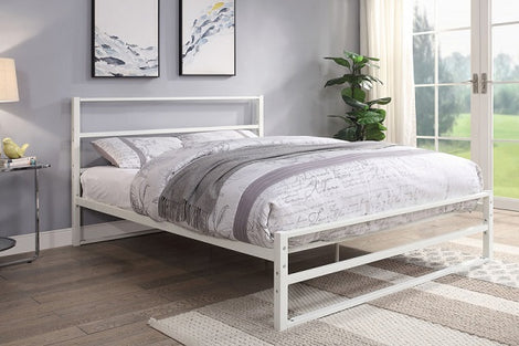 Hartfield White Metal King Size Bed Frame