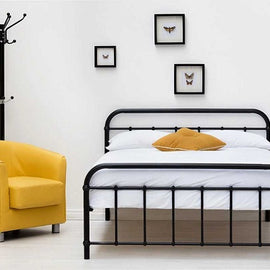 Henley Victorian Hospital Style Black Metal Double Bed Frame