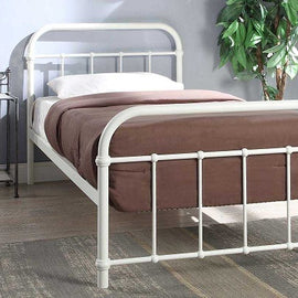 Henley Victorian Hospital Style White Metal Single Bed Frame
