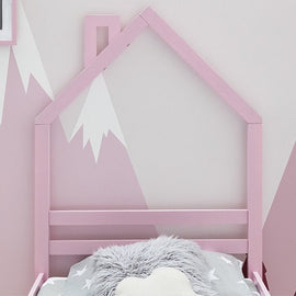 Juni Pink Kids Wooden Single Bed Frame 3ft