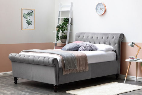 Lambeth Grey Velvet Lift Up Ottoman Storage Sleigh King Size Bed Frame
