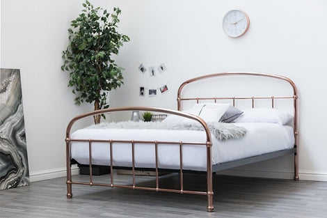 Lichfield Copper Victorian Hospital Style Metal Double Bed Frame