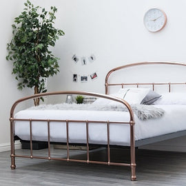 Lichfield Copper Victorian Hospital Style Metal King Size Bed Frame