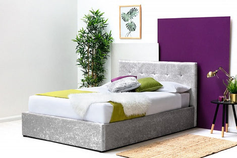 Lowther Crushed Silver Velvet Storage Ottoman Double Bed Frame