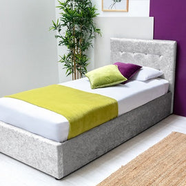 Lowther Crushed Silver Velvet Storage Ottoman Single Bed Frame