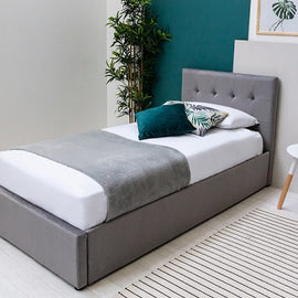 Lowther Grey Velvet Storge Ottoman Single Bed Frame