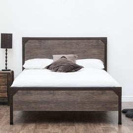 Marlow Industrial Rustic Brown Metal & Wood Double Bed Frame
