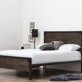 Marlow Industrial Rustic Brown Metal & Wood King Size Bed Frame