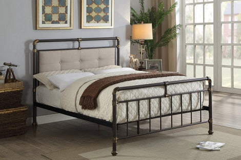 Oxford Industrial Scaffold Brown Metal & Fabric King Size Bed Frame