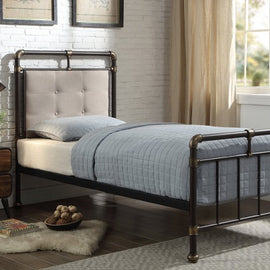 Oxford Industrial Scaffold Brown Metal & Fabric Single Bed Frame