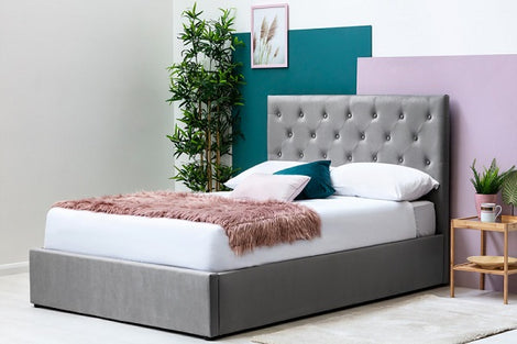 Parwich Grey Velvet Ottoman Storage Double Bed Frame