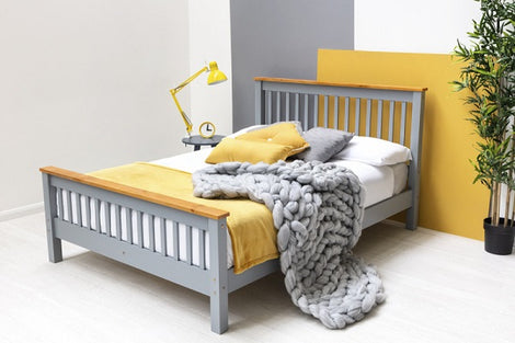 Pickmere Grey Solid Wooden Pine Double Bed Fame