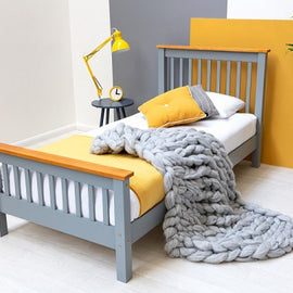 Pickmere Grey Solid Wooden Pine Single Size Bed Fame