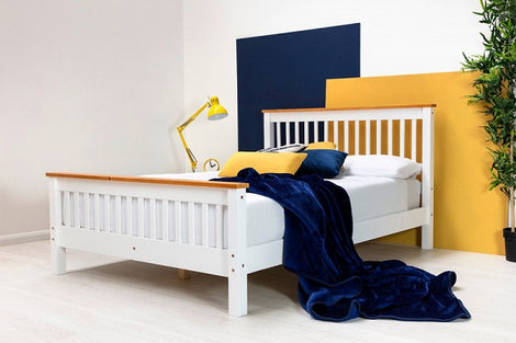 Pickmere White Solid Wooden Pine King Size Bed Fame