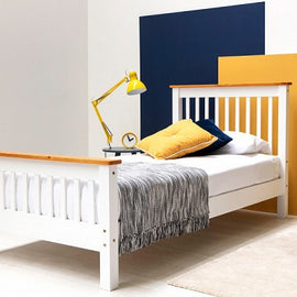 Pickmere White Solid Wooden Pine Single Bed Fame