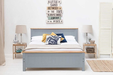 Rostherne Grey & Oak Wooden Farmhouse King Bed Frame