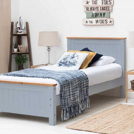 Rostherne Grey & Oak Wooden Farmhouse Single Bed Frame