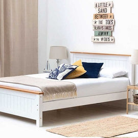 Rostherne White & Oak Wooden Farmhouse King Bed Frame