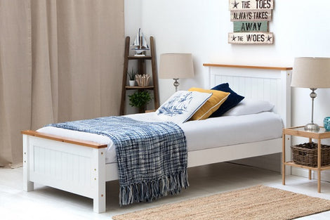 Rostherne White & Oak Wooden Farmhouse Single Bed Frame