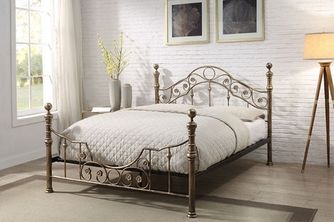 Salcombe Antique Style Brushed Brass Metal Double Bed Frame