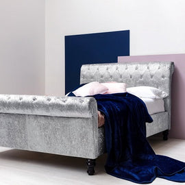 St James Silver Crushed Velvet Chesterfield Sleigh Double Bed Frame