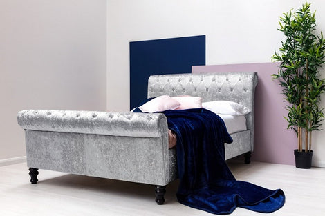 St James Silver Crushed Velvet Chesterfield Sleigh King Size Bed Frame